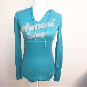 Teal Armani Exchange hooded sweater small